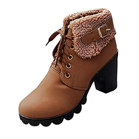 Faux Bottes, Malloom Femmes Boucle de ceinture Dames Bottines Talons hauts Chaussures Martin (EU:38, Marron)