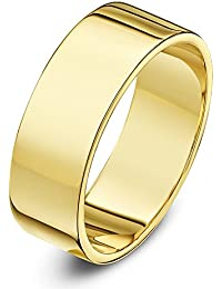 Theia Unisex 9 ct Yellow or White Gold, Super Heavy Flat Shape, Polished, 3-8 mm Wedding Ring