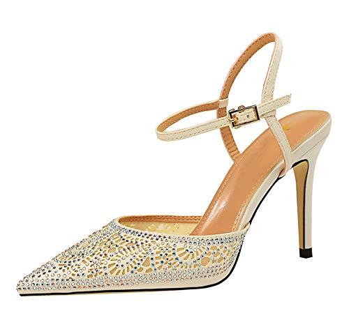 Miyoopark Damen Sommerschuhe Sparkle Slingback Glitzer Stiletto High Heel Pumps Sandalen, Weiß - White-3.74