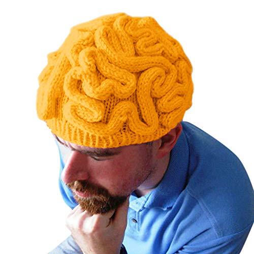Lazzboy Halloween Kopfbedeckung Dekoration Handgestrickte Persönlichkeit Gehirn Hut Kinder Erwachsene häkeln Beanie Cool Cerebrum Cap(Gelb)
