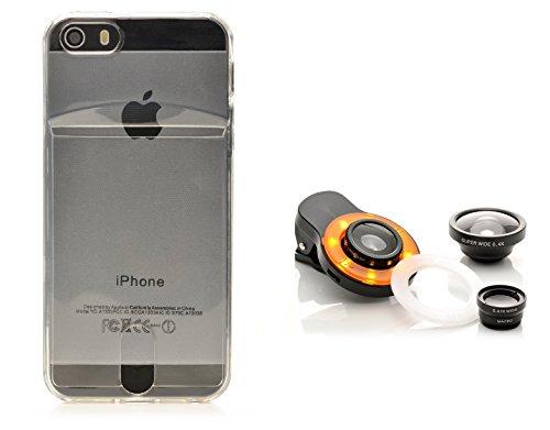 iProtect Kreativ Set Apple iPhone 5, 5s SE biegsame TPU Soft Case Hülle mit extra Fach für Ihre Polaroid Instax Mini Photos und Kamera Objektiv Linsenset Polaroid-kamera-licht-gelb