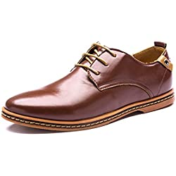 Minetom Hombres Estilo Británico Comodidad Cuero de Boda con Cordones de Zapatos Planos de Vestir de Negocios Oxfords Marrón EU 40