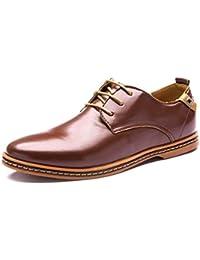 Minetom Hombres Estilo Británico Comodidad Cuero de Boda con Cordones de Zapatos Planos de Vestir de Negocios Oxfords