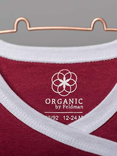 Organic by Feldman Unisex Baby Body Kurzarm Wickelbody aus Bio Baumwolle, GOTS Zertifiziert, Schutzengel Rot, (62/68) - 2