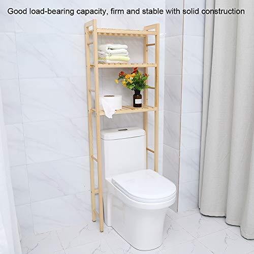 Cocoarm Estantería para Baño WC Estantería Auxiliar de Madera Estantería para Almacenamiento sobre el Inodoro Ahorro de Espacio (3 Niveles)