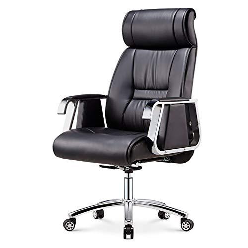 ch-AIR Computer Stuhl Home ergonomischer Bürostuhl Freizeit Liegestuhl aus Leder Höhenverstellbarer Spieldrehstuhl Mit Fußstütze,Schwarz