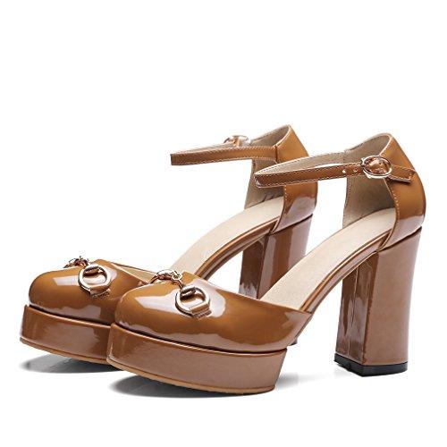 YE Damen Damen Chunky High Heels Lackleder Pumps mit Knöchelriemchen und Blockabsatz Schnalle 10cm Absatz Schuhe Braun