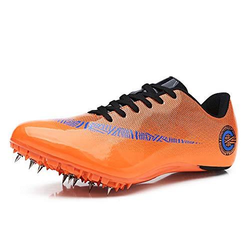 YXHMNB Frauen Männer Spike-Schuhe, Leichte Und Atmungsaktive Trainingsschuhe 8 Nails Track & Field-Schuhe Geeignet Für Sprint,Orange,37 -
