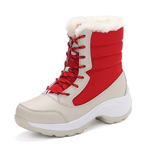 lww Donna di Snow Boots tacco piatto a testa tonda cinturino in pelle di colore solido Red