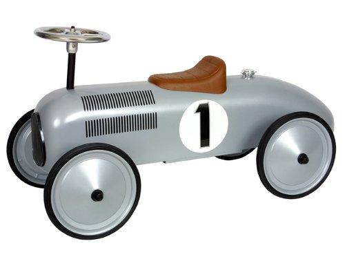 Marquant Coche infantil de carreras de pedales vintage para niños (Robusta estructura metálica, dirección activa, volante funcional) Plateado