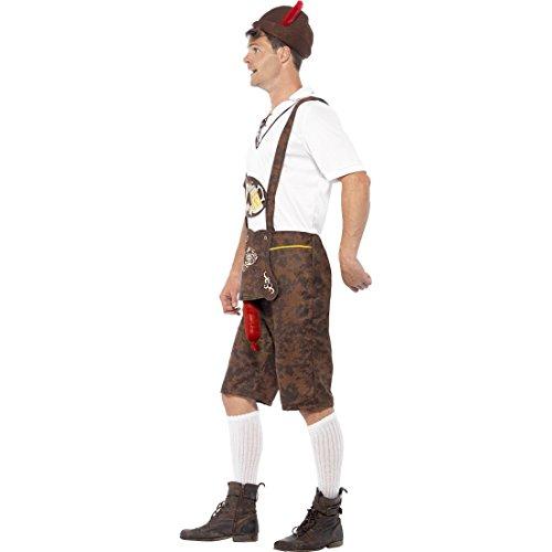 Lederhosen mit Bratwurst Bayrische Lederhose XL 56/58 Sexy Trachtenkostüm mit heraushängender Wurst Lustiges Oktoberfest Kostüm Karneval Kostüme Herren Trachtenhose Faschingskostüm Witziges Bayern ()