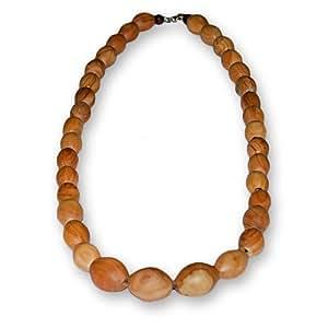 Collier de perles en bois d'olivier - commerce équitable