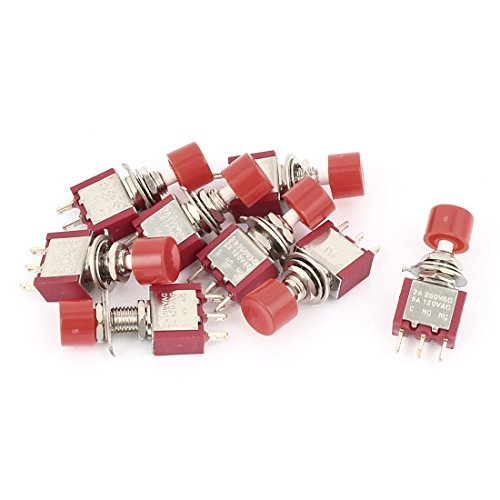 DealMux AC 250V / 120V 2A / 5A 3 Klemme NO NC Momentary Push Button Switch 9PCS -