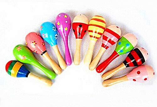 WDOIT 1 Stuck Kinder Holz Rasseln Baby-Spielzeug Musik Rasseln, Holz Maracas aus Holz Shaker, Zufällige Farbe, 12*3.5CM -