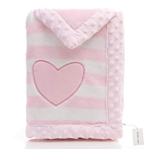 Yumu casa spessore baby flanella coperta doppio strato morbido coperta per neonato cartoon design per neonati e bambini, flanella, rosa, 75 * 100cm/29.5 * 39.4 inch
