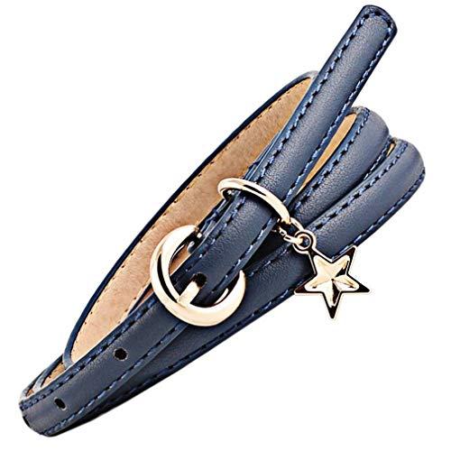 Bigood 103x1.1cm Korean Candy Color PU Leather Star Dress Skinny Waist Belts Navy Blue