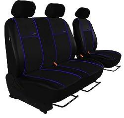 POK-TER-BUS Autositzbezug Super Qualität für Bus und Transporter (Fahrersitz + 2er Beifahrersitzbank). Design Kunst-Line. Hier mit Blauer Lamelle