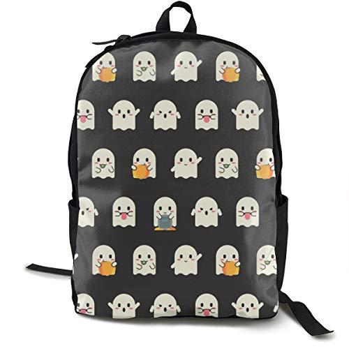 Halloween Ghost Emojis Adult Premium Travel Backpack, Water-Resistant College School Bookbag, Sport Daypack, Outdoor Rucksack, Laptop Bag for Men&Women