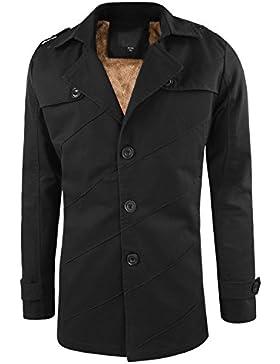 semen Männlich mitterlang langarmmantel Wollmischung warm einfärbig V Ausschnitt ohne Taschen Winterjacke Coat