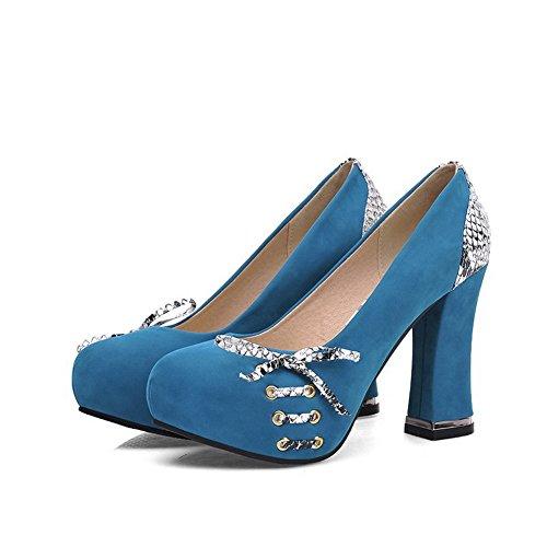 VogueZone009 Damen Rund Zehe Ziehen Auf Gemischte Farbe Hoher Absatz Pumps Schuhe Blau