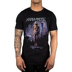 Camiseta oficial con diseño de banda de metal pesado Megadeth Countdown To Extinction Thrash Mustaine Negro negro