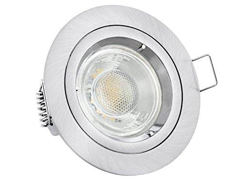 LED Einbaustrahler Edelstahl Optik gebürstet rund warmweiß 6W 230V - linovum® Einbauleuchte Anschluss ohne Trafo inkl. GU10 Fassung - Keramik Glühbirne-ring