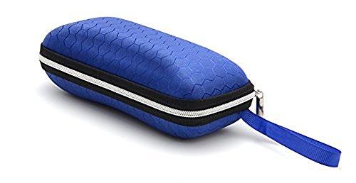 Hosaire 1X Boîte étui à lunettes Boîte de Protection de Lunettes de Soleil avec Fermetures à glissière et Cordes-Bleu