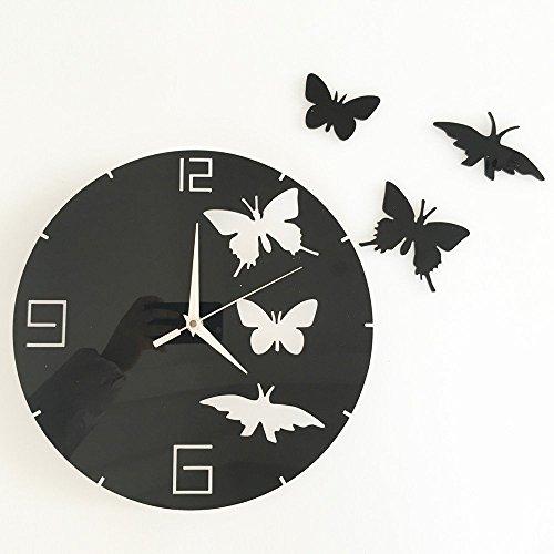 HYSENM Wanduhr Wandtattoo Wandaufkleber DIY Acrylglas ruhig modern Funk Schmetterling für Kinderzimmer Wohnzimmer, Schwarz