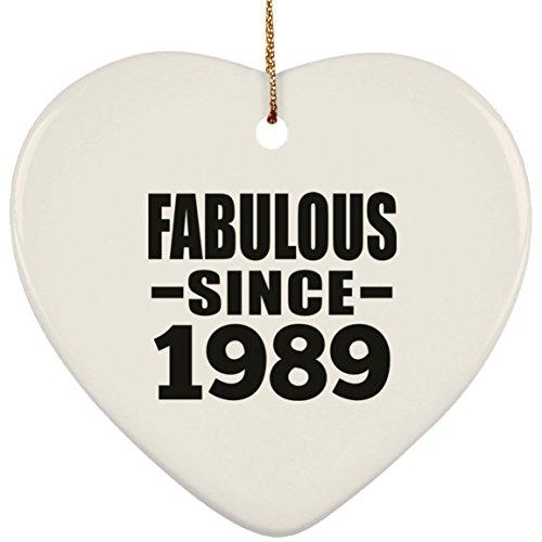 Designsify 30th Birthday Fabulous Since 1989 - Heart Ornament Herz Weihnachtsbaumschmuck aus Keramik Weihnachten - Geschenk zum Geburtstag Jahrestag Muttertag Vatertag Ostern
