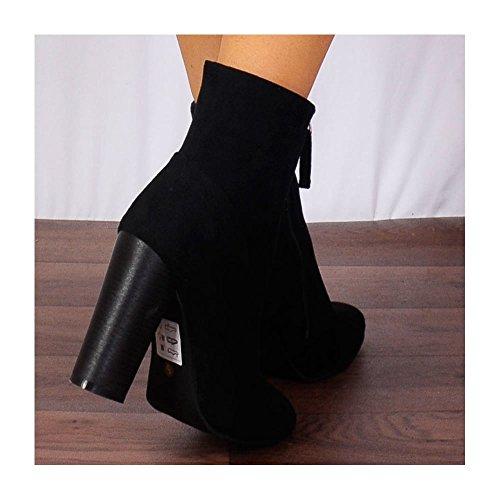 Ladies Zip Noir Stretch Tirer Cheville Faux Suède, Bottes Chaussures Hauts Talons Noir