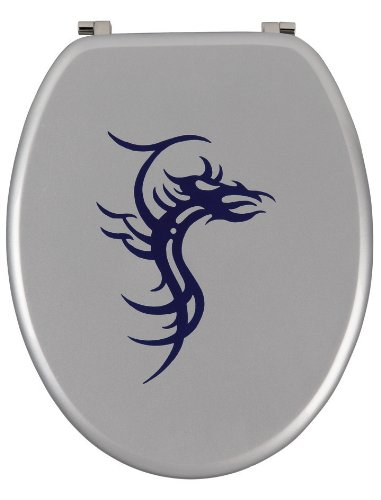 Sanitop-Wingenroth - 40589 8 -WC-Sitz Dekor Tattoo in silber/blau - Toilettensitz mit Holz-Kern & Metall - Scharnier