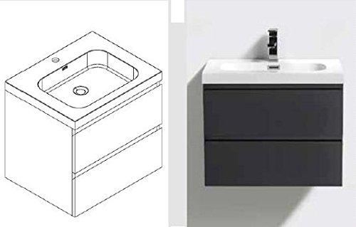 Preisvergleich Produktbild Badmöbelset weiß mit Mineralgussbecken weiß , Breite 80cm R-BF-v800-PW