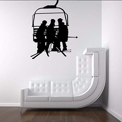 Fushoulu 56X69 Cm Skilift Stuhl Mit Männer Übergabe Snowboards SilhouetteKunst Designwandtattoos Wohnzimmer Cool Decor Tapete Poster
