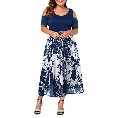 Damen Kleid Für Damen Elegant Somerl Damen Kleider Lässig Plus Size O-Neck Print Off-Schulter Langes Kleid Kleidung Für Damen(Marine3,XXXXXL)
