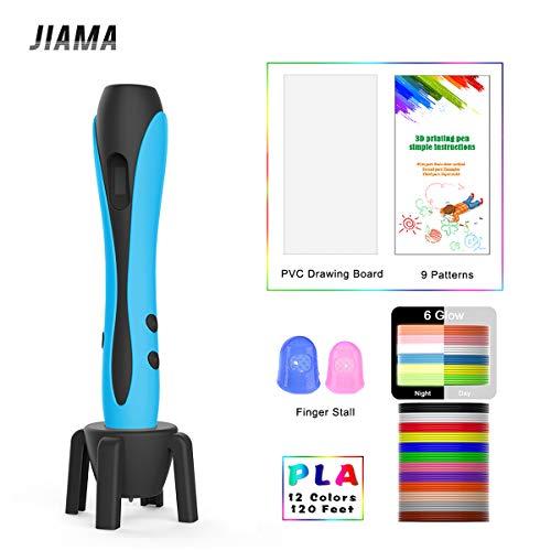 3D Stift Blau mit LCD Display, Militärmotor, 2 Fingerlinge, 9 Papierschablonen, 12 Farben PLA, 1 Stifthalter/Kompatibel mit PLA & ABS Filamenten/JIAMA JM-B661