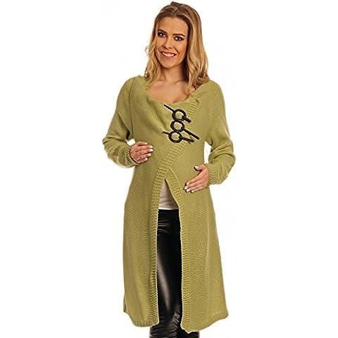 Happy Mama Donna Prémaman Giacca in maglia lunga aperta Cardigan