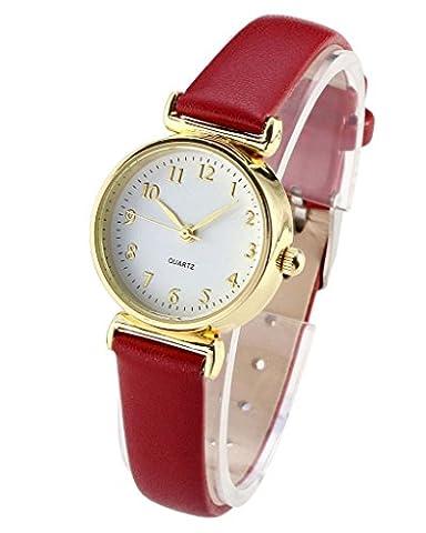 JSDDE élégant Montre à Quartz Femme Fille business style Montre-bracelet or Cadran mince Bracelet PU cuir -Rounge
