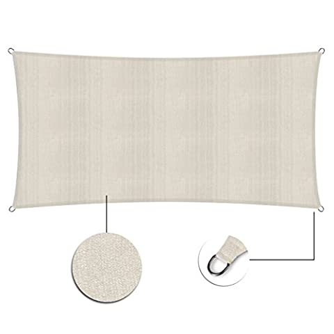 Lumaland Sun Shade Sail Rectangle 2 x 4 Meter, 100% HDPE with stabilizer for UV protection, cream