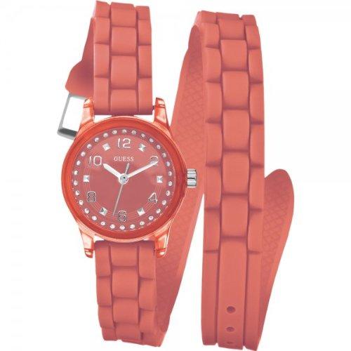 Guess Ladies Orange Rubber Strap Watch W65023L4