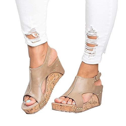 Damen Sandalen Keilabsatz Sommerschuhe Plateau Wedge Schuhe Knöchel Schnalle Peep Toe Elegant High Heels Schwarz Beige Braun Gold Gr.34-43 BG40