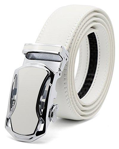 MINHER Men's Reversible Leather Belt with Automatic Men's Buckle Ratchet Width 3,5 cm White (White-A2018W, 120CM (Adjust waist 38'-44 '))