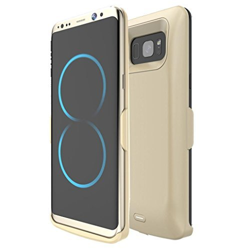 Allywit 5500mAh External Power Bank Battery Pack Charger Case For Samsung Galaxy S8 Plus (Golden)