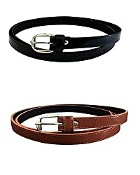 Vbirds Girl's PU leather belts set of 2 combo (Black & Brown)(VB/WOMENBELTS/BKBR)