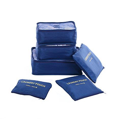 Shopper Joy Koffer Organizer Taschen Set Reise Kleidertaschen 6 Teilig | 3 Packing Cubes + 3 Laundry Pouch für Schuhe Unterwäsche Kosmetik auf Urlaub Camping Aufenthalt - Dunkelblau 1