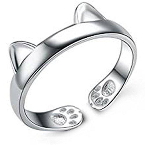 Hosaire Anillo de Plata de Orejas de Gato Estilo de la Mujer de Apertura Metal-Ajustable Regalo