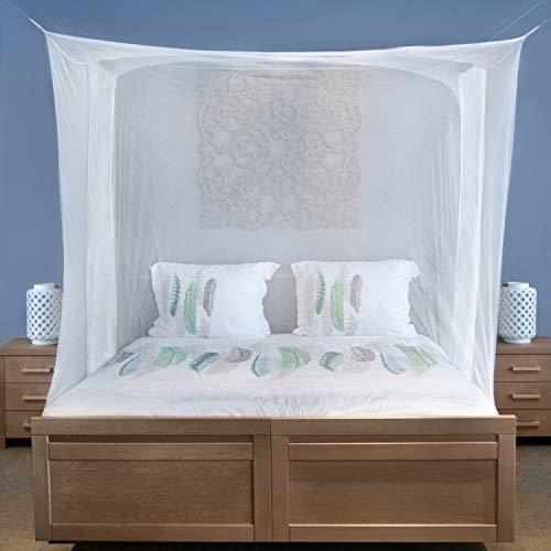 Universal Backpackers Moskitonetz für Doppelbett - 6 Hängeschlaufen und 2 seitliche Öffnungen - dekorative rechteckige Form für Zuhause & Reise - Betthimmel-Aufhängeset und Tragetasche inklusive -