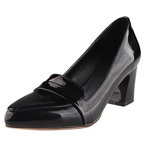 COOLCEPT Damen Mode-Event Schnellverschluss Pumps Geschlossene Blockabsatz Schuhe Schwarz