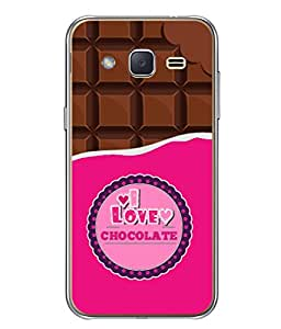Samsung Galaxy J2 J200G (2015), Samsung Galaxy J2 Duos (2015), Samsung Galaxy J2 J200F J200Y J200H J200Gu Back Cover Bite Chocolate And Chocolate Pieces Concept Vector Illustration I Love Chocolate Design From FUSON
