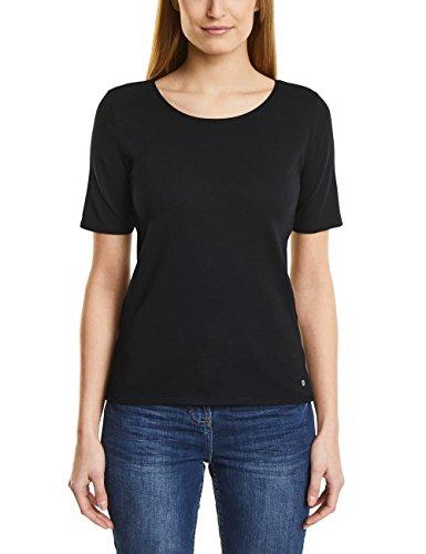 Cecil Damen T-Shirt 311780 Lena, Schwarz (Black 10001), Medium (Leben T-shirt Schnitt Damen)