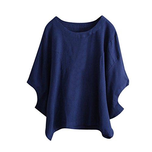 IMJONO Damen Frauen Unregelmäßige Mode Solid Kurzarm Hemd Vintage Bluse (EU-46/CN-3XL, Blau)